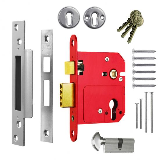 ERA 334 Fortress Fortress BS BS Euro Keyless Egress Key & Turn Sashlock With Cylinder 76mm PC KD Boxed