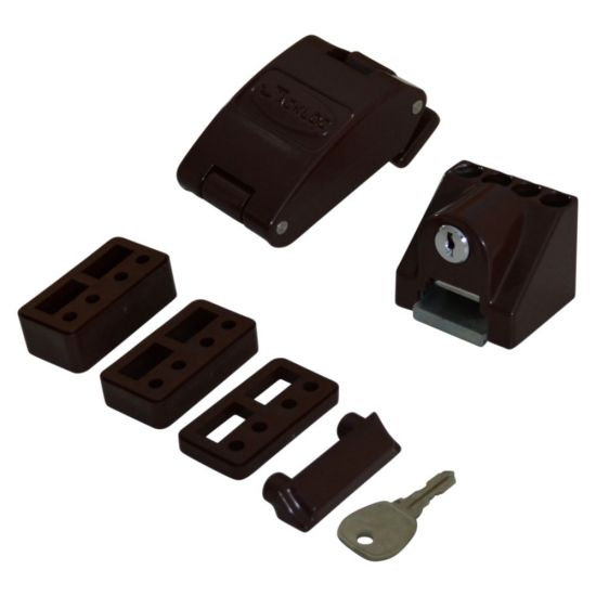 JACKLOC Robust Folding Window Restrictor Brown