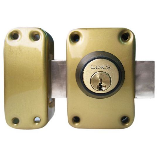 LINCE Rim Deadlock 3916 Keyed Both Sides Gold - Keyed Both Sides