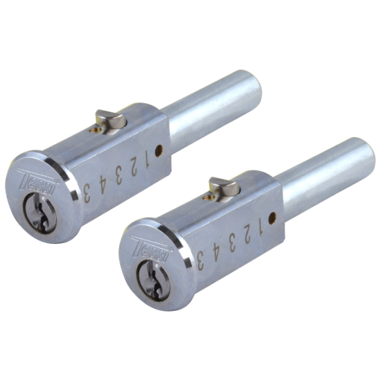 Tessi TCP6461 Round Cylinder Bullet Lock 90mm NP KA Complete Pair