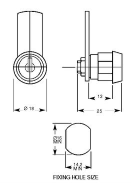 L&F 5101 Cam Lock 13mm KA - Click Image to Close