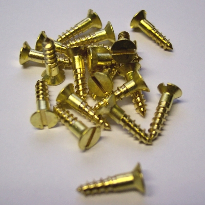 20 x Slotted Countersunk Brass Woodscrews 2 x 3/8'' - Click Image to Close